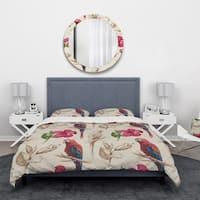 Designart 'Macaw Parrot and Hibiscus Flower' Floral Bedding Set - Duvet Cover & Shams