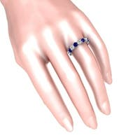 Solid Sterling Silver Eternity Ring with Blue & White Sapphire