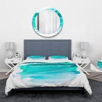 Designart 'Turquoise Paint Strokes on White Background' Abstract Bedding Set - Duvet Cover & Shams