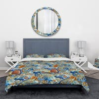 Designart 'Handpainted Orange and Blue Fishes' Animals Bedding Set - Duvet Cover & Shams