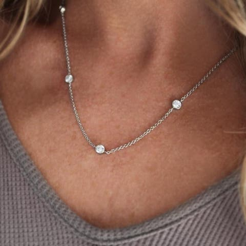 TwoBirch Sterling Silver Diamonds By The Inch Necklace with Cubic Zirconia (18 Inch or 36 Inch)