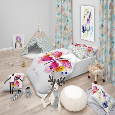 Designart 'Monotype vivid butterfly' Animals Bedding Set - Duvet Cover & Shams