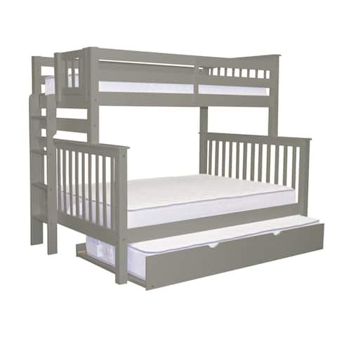 Bedz King Grey Pinewood Twin Over Full Bunk Bed with End Ladder and Twin Trundle