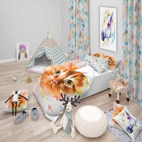 Designart 'Lovely Red Watercolor Cat' Animal Bedding Set - Duvet Cover & Shams