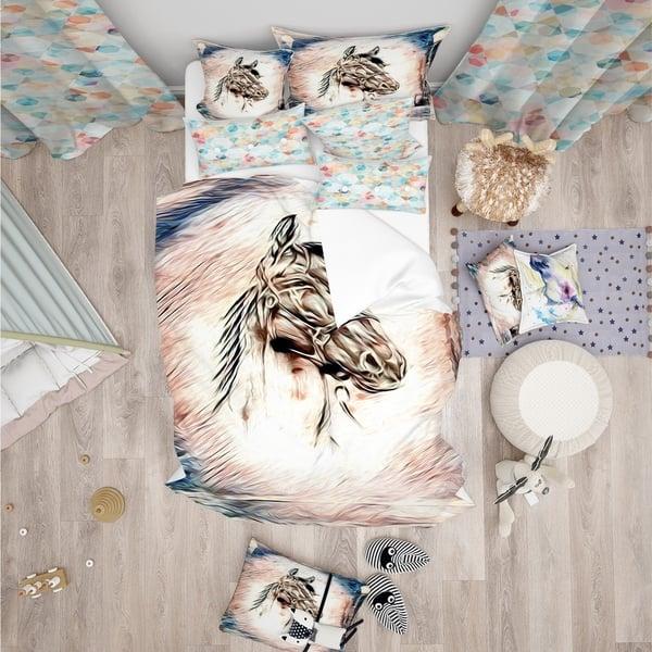 Designart Freehand Horse Farmhouse Animal Bedding Set Duvet Cover Shams On Sale Overstock 24238981
