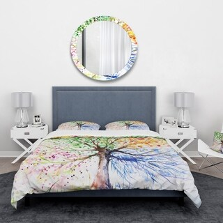 Designart - Four Seasons Tree - Floral Duvet Cover Set