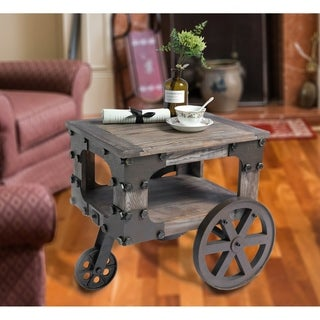 Rustic Industrial Wagon Style Coffee End Table, Shelf and Wheels