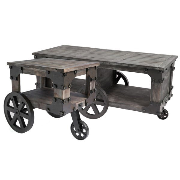 Shop Rustic Industrial Wagon Style Coffee End Table, Shelf