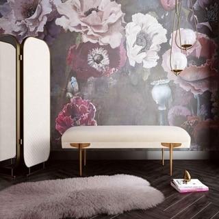Link to Brno White Waived Velvet Bench Similar Items in Living Room Furniture