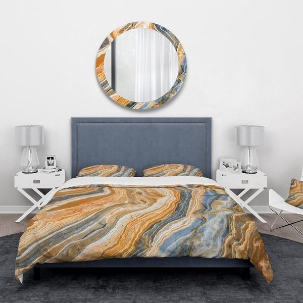 Designart 'Segment Layers of Marbled Rock' Abstract Bedding Set - Duvet Cover & Shams