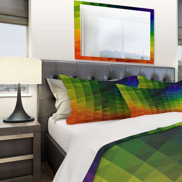 Shop Designart \'Triangular Geometry in Orange , Green and ...