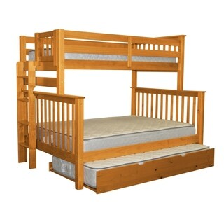 Bedz King Honey Brazilian Pine Wood Twin Over Full Mission Style Bunk Beds with End Ladder and Twin Trundle