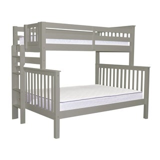 Bedz King Grey Wood Twin-over-Full Bunk Bed