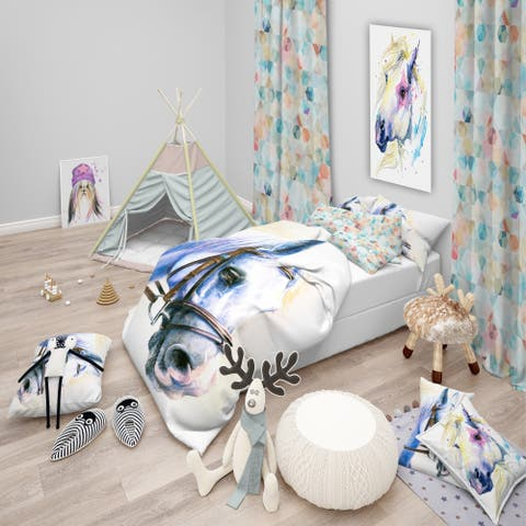 Designart 'Blue Horse with Bridle' Abstract Bedding Set - Duvet Cover & Shams