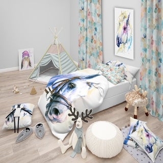 Designart - Blue Horse with Bridle - Abstract Duvet Cover Set