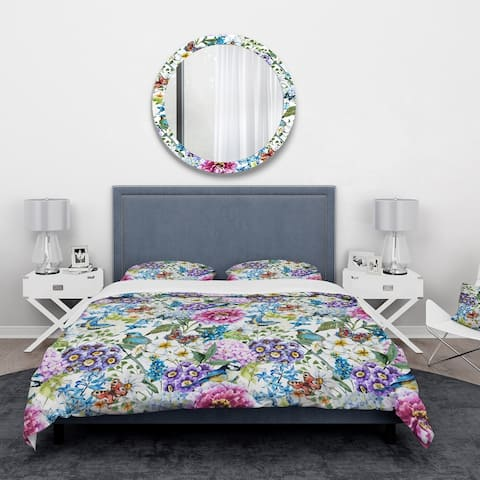 Designart 'Blue Bird and Blue and Purple Blossoming Flowers' Floral Bedding Set - Duvet Cover & Shams