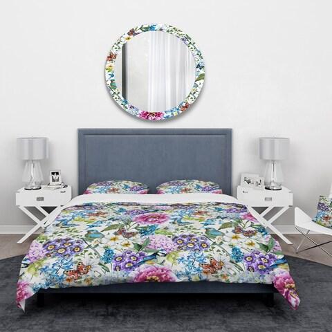 Designart 'Blue Bird And Blue and Purple Blossoming Flowers' Floral Bedding Set - Duvet Cover & Shams