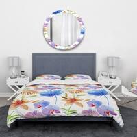Designart 'Watercolour Orchids' Floral Bedding Set - Duvet Cover & Shams