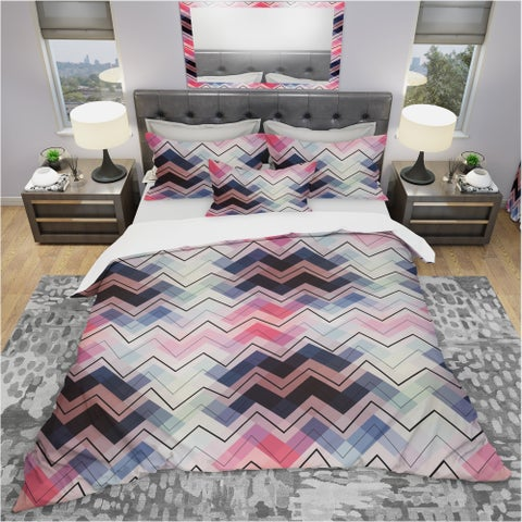 Designart 'Geometric Chevron in Blue and Pink' Modern & Contemporary Bedding Set - Duvet Cover & Shams