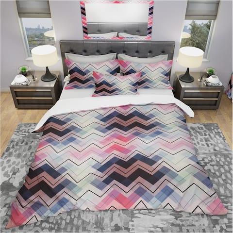 Designart 'Geometric Chevron in Blue and Pink' Modern & Contemporary Bedding Set - Duvet Cover & Shams