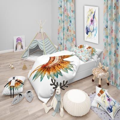 Designart 'Feathers on Ethnic Skull' Abstract Bedding Set - Duvet Cover & Shams