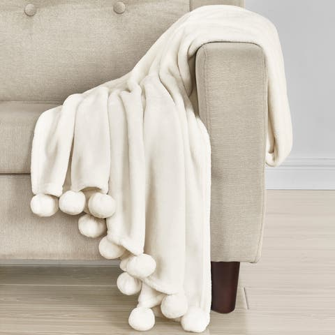 Five Queens Court Paula Pom-Pom Trim Throw Blanket
