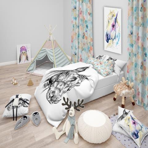 Designart 'Freehand Horse Head Pencil Drawing' Animal Bedding Set - Duvet Cover & Shams
