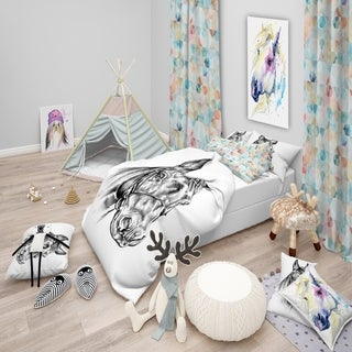 Designart - Freehand Horse Head Pencil Drawing - Animal Duvet Cover Set