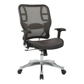 Grey Vertical Mesh Seat and Office Chair with Polished Aluminum Base