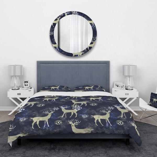 Designart 'Raindeer with Christmas Snowflakes' Animals Bedding Set - Duvet Cover & Shams. Opens flyout.