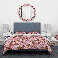 Designart 'Pink Blossoming Flowers' Abstract Bedding Set - Duvet Cover & Shams