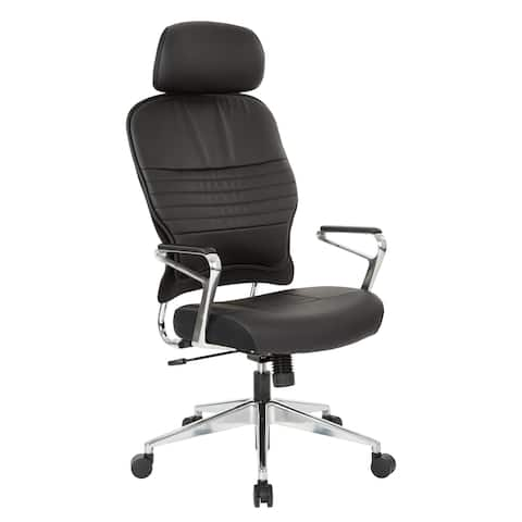 Bonded Leather Office Chair Padded Aluminum Arms and Base with adjustable Headrest