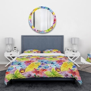 Designart 'Tropical Yellow Leaves and Blue and Red Flowers' Floral Bedding Set - Duvet Cover & Shams