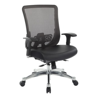 Black Vertical Mesh Office Chair with Black Bonded Leather Seat