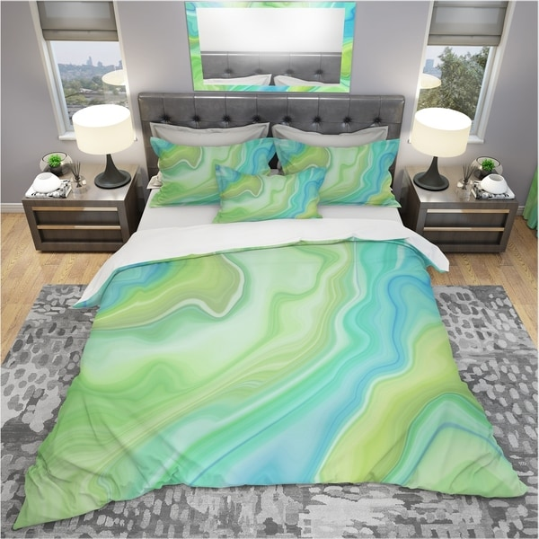 shop designart 39 marbled colours in shades of green and blue 39 modern contemporary bedding set. Black Bedroom Furniture Sets. Home Design Ideas