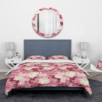Designart 'Pink and Yellow Flowers' Floral Bedding Set - Duvet Cover & Shams