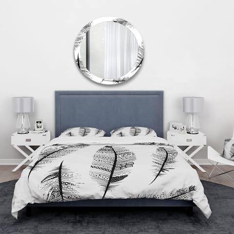 Designart 'Vintage Feathers with tribal patterns' Vintage Bedding Set - Duvet Cover & Shams