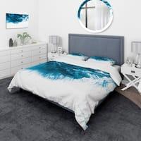 Designart 'Blue and White Hand Painted Marble Acrylic' Mid-Century Modern Bedding Set - Duvet Cover & Shams