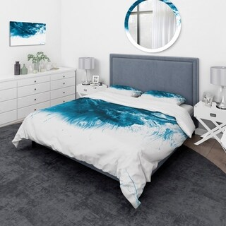 Designart - Blue and White Hand Painted Marble Acrylic - Mid-Century Modern Duvet Cover Set