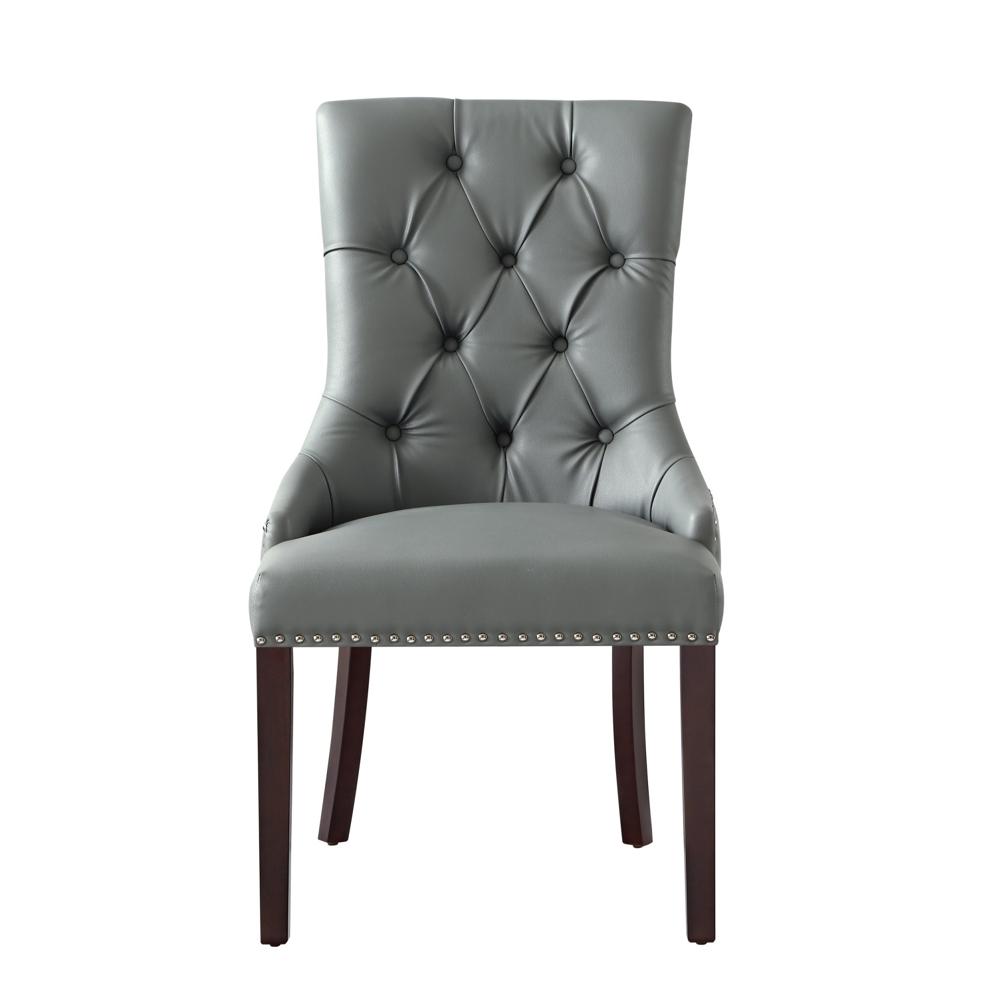 george leather dining chair tufted nailhead trim set of 2