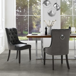 Link to George Leather Dining Chair Tufted Nailhead Trim (Set of 2) Similar Items in Kitchen & Dining Room Chairs