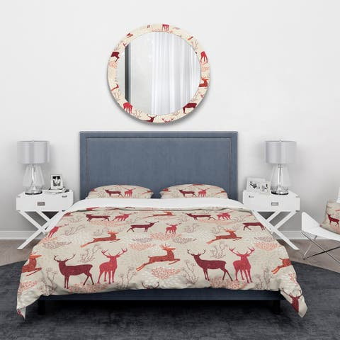 Designart 'Patterned Christmas Deers' Animals Bedding Set - Duvet Cover & Shams