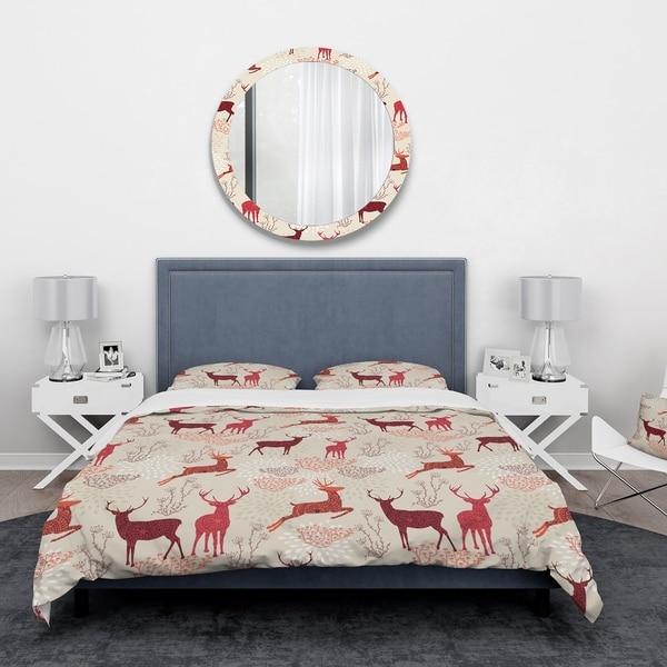 Designart 'Patterned Christmas Deers' Animals Bedding Set - Duvet Cover & Shams. Opens flyout.