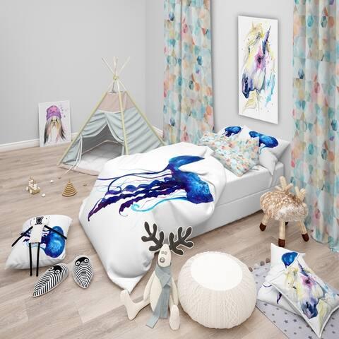 Designart 'Dark Blue Jellyfish Watercolor' Animal Bedding Set - Duvet Cover & Shams