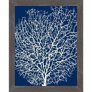 Canvas Art Framed 'Navy Coral II' by Sabine Berg: Outer Size 21 x 25-inch