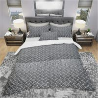 Designart 'Silver Metal Diamond Plate Relief' Modern & Contemporary Bedding Set - Duvet Cover & Shams