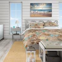 Designart 'Beach life atmosphere with shells and sea stars' Coastal Bedding Set - Duvet Cover & Shams