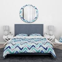 Designart 'Retro dotted blue wave pattern' Vintage Bedding Set - Duvet Cover & Shams