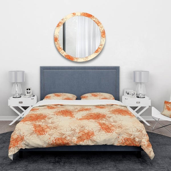 Designart 'Handdrawn Asian Flowers with Orange Watercolor' Floral Bedding Set - Duvet Cover & Shams