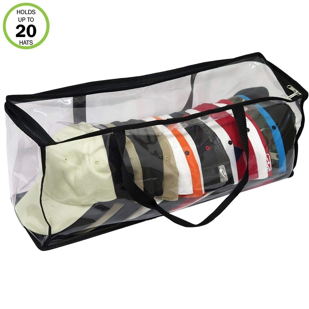 Evelots Giant Hat Storage Bag-30 Inch-Clear-Up to 100 Baseball//Trucker Cap-Set//2